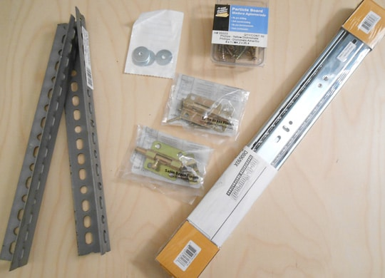 Hardware used to assemble the adjustable standing desk