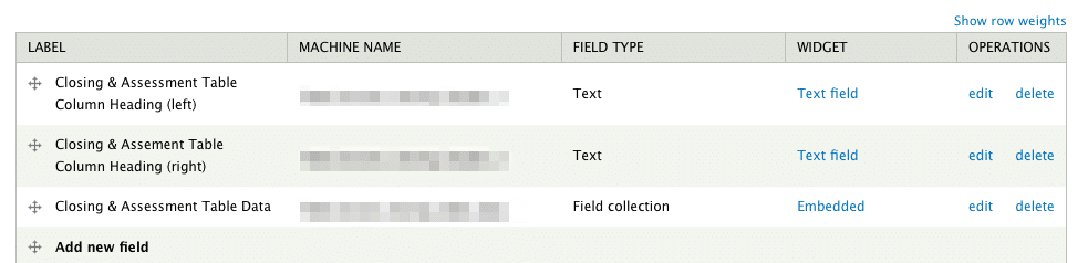 Containing field collection screen shot