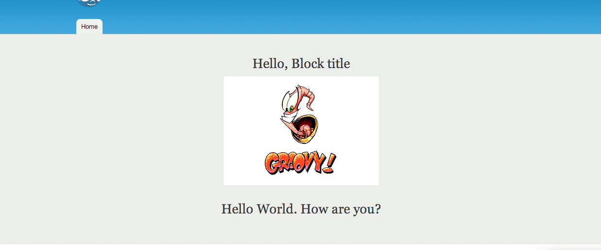 Screenshot of final custom block output in the featured section of the Drupal site.